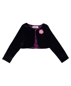 Soul Fairy Flower Embroidery Full Sleeves Velvet Shrug With Satin Lining - Navy Blue