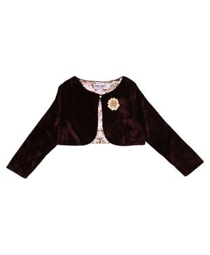 Soul Fairy Flower Embroidery Full Sleeves Velvet Shrug With Satin Lining - Brown
