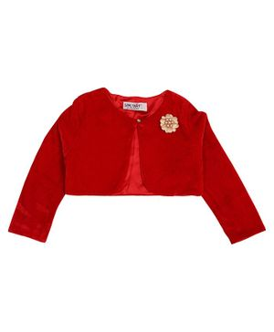 Soul Fairy Flower Embroidery Full Sleeves Velvet Shrug With Satin Lining - Red