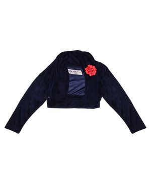 Soul Fairy Flower Applique Full Sleeve Velvet Shrug - Navy Blue