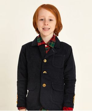 Cherry Crumble by Nitt Hyman Solid Full Sleeves Blazer - Navy Blue