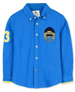 Cherry Crumble California Helmet & Number Patch Detailed Full Sleeves Shirt - Blue