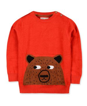 Cherry Crumble California Bear Design Full Sleeves Sweater - Red