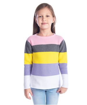 Cherry Crumble California Colourful Stripes Full Sleeves Sweater - Multi Colour