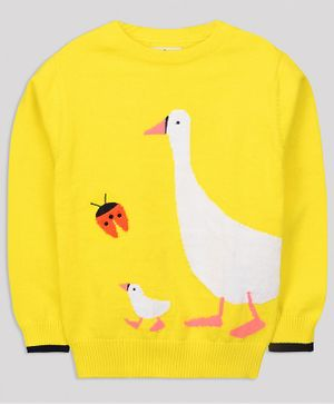 Cherry Crumble California Duck & Ladybug Design Full Sleeves Sweater - Yellow