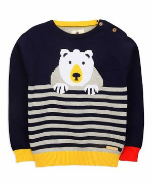 Cherry Crumble California Big Bear Design Full Sleeves Sweater - Navy Blue