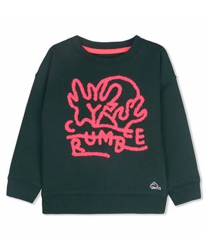 Cherry Crumble California Letter Printed Full Sleeves Sweater - Dark Green