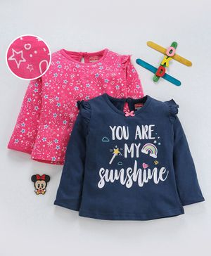 Babyhug Full Sleeves Tees Star & Text Print Pack of 2 - Blue Pink