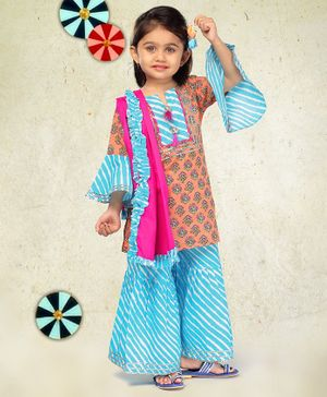 LIL PITAARA Floral Print Full Sleeves Kurta With Leheriya Sharara & Dupatta - Multi Colour
