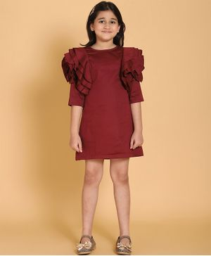 Piccolo Solid Three Fourth Sleeves Dress - Maroon