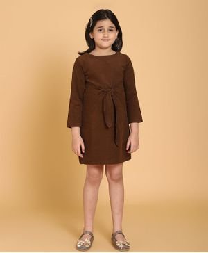 Piccolo Solid Front Knot Full Sleeves Dress - Brown