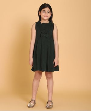 Piccolo Bow Applique Sleeveless Pleated Dress - Green
