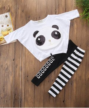 Pre Order - Awabox Bear Sequined Full Sleeves Top With Elasticated Pants - White
