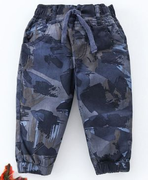 Cucumber Cotton Poplin Full Length Camouflage Trousers With Drawstring  - Blue