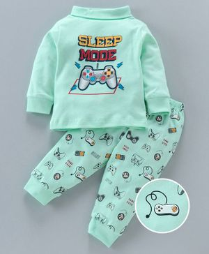Cucumber Winter Wear Full Sleeves Tee & Lounge Pant Sleep Mode Print - Green