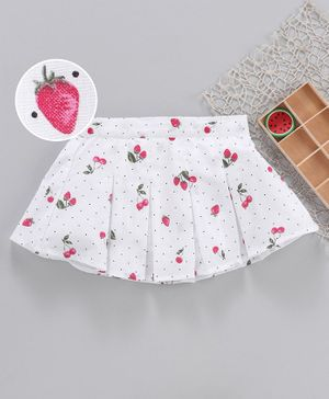 Fox Baby  Skirt Strawberry Print - White