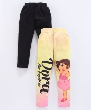 Birthday Girl Full Length Leggings Dora Print Pack of 2 - Yellow Black