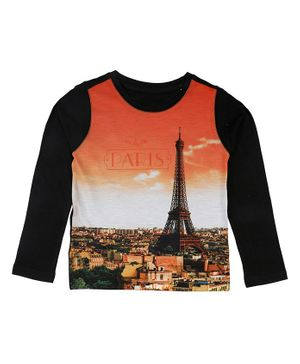 Wear Your Mind Eiffel Tower Print Full Sleeves T-Shirt - Orange