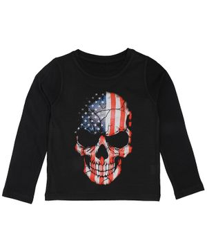 Wear Your Mind Skull Print Full Sleeves T-Shirt - Black