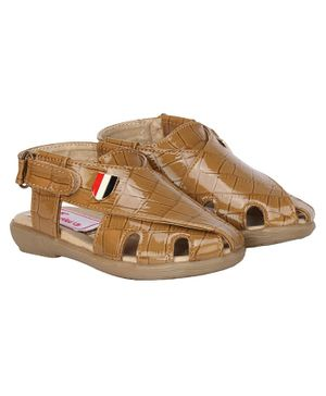 Buckled Up Velcro Closure Sandals - Brown