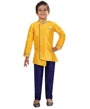 Nakshi By Yug Self Design Full Sleeves Kurta & Pajama Set - Yellow & Navy Blue