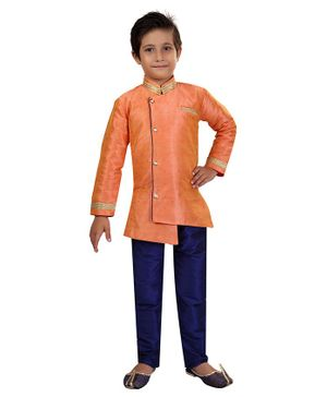 Nakshi By Yug Self Design Full Sleeves Kurta & Pajama Set - Peach & Navy Blue