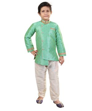 Nakshi By Yug Self Design Full Sleeves Kurta & Pajama Set - Light Green & Off White