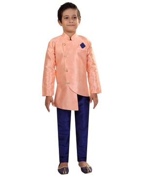 Nakshi By Yug Solid Full Sleeves Kurta & Pajama Set - Peach & Navy Blue