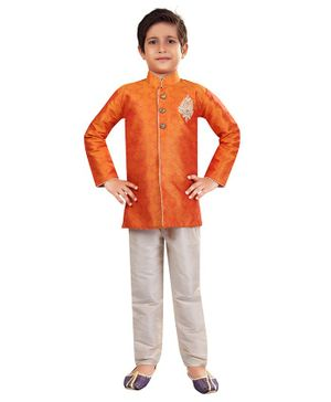 Nakshi By Yug Jacquard Full Sleeves Kurta & Pajama Set - Orange & Off White