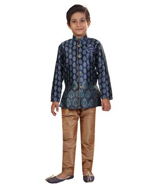 Nakshi By Yug Motif Printed Full Sleeves Kurta & Pajama Set - Navy Blue & Beige