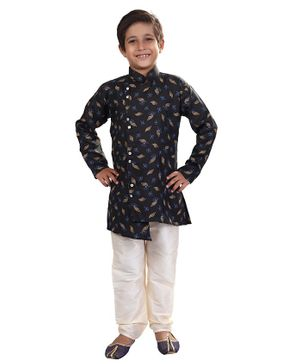 Nakshi By Yug Leaves Printed Full Sleeves Kurta & Pajama Set - Black & White