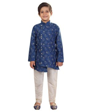 Nakshi By Yug Leaves Printed Full Sleeves Kurta & Pajama Set - Blue & White