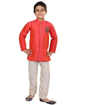 Nakshi By Yug Bling Patch Detailed Full Sleeves Kurta & Pajama Set - Orange & Off White