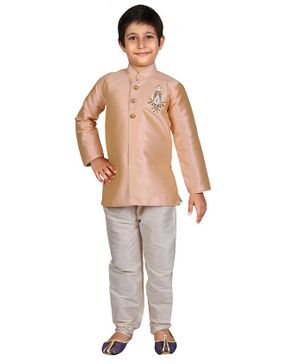 Nakshi By Yug Motif Patch Detailed Full Sleeves Kurta & Pajama Set - Peach & Off White