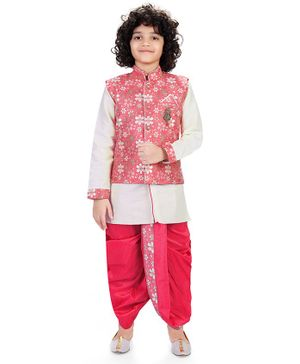 Nakshi By Yug Full Sleeves Kurta With Pajama & Floral Print Waistcoat With Dhoti - Pink & Off White