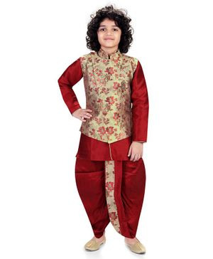 Nakshi By Yug Full Sleeves Kurta With Pajama & Floral Print Waistcoat With Dhoti - Maroon