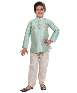 Nakshi By Yug Motif Patch Detailed Full Sleeves Kurta & Pajama Set - Light Blue & Off White