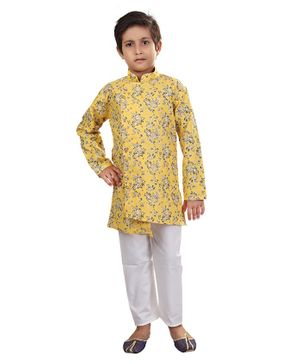 Nakshi By Yug Floral Print Full Sleeves Kurta & Pajama set - Yellow & White