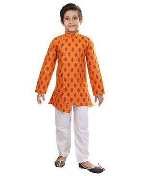 Nakshi By Yug Butti Work Full Sleeves Kurta & Pajama Set - Orange & White