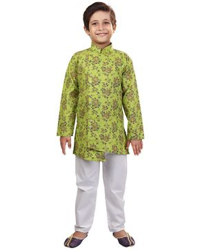 Nakshi By Yug Floral Print Full Sleeves Kurta & Pajama Set - Light Green & White