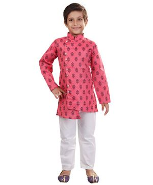 Nakshi By Yug Block Print Full Sleeves Kurta & Pajama Set - Pink & White