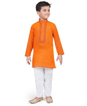 Nakshi By Yug Embroidery Detailed Full Sleeves Kurta & Pajama Set - Orange & White