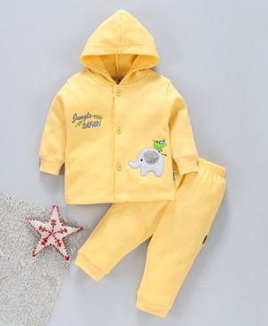 Child World Winter Wear Full Sleeves Hooded Night Suit - Yellow