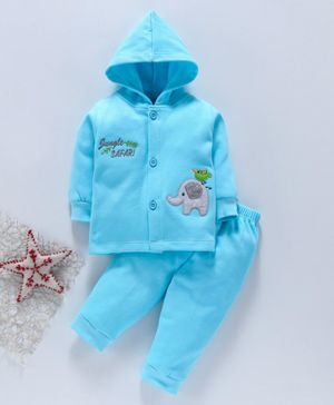 Child World Winter Wear Full Sleeves Hooded Night Suit - Blue