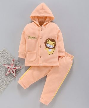 Child World Winter Wear Full Sleeves Hooded Night Suit - Peach