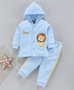 Child World Full Sleeves Hooded Winter Wear Night Suit Lion Patch - Sky Blue