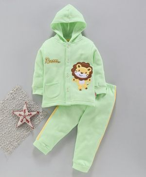 Child World Winter Wear Full Sleeves Hooded Night Suit - Green