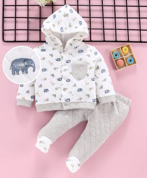 ToffyHouse Winter Wear Full Sleeves Hooded Jacket With Bootie Leggings Elephant Print - White