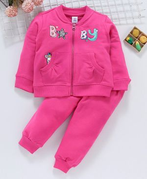 ToffyHouse Winter Wear Full Sleeves Jacket & Lounge Pant Text Print - Pink