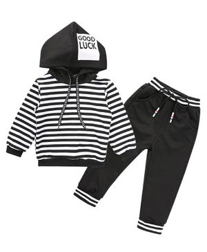 Pre Order - Awabox Striped Full Sleeves Hoodie & Bottoms Set - Black